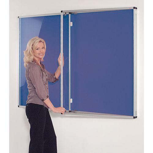 Tamperproof lockable coloured felt office noticeboards - Double door