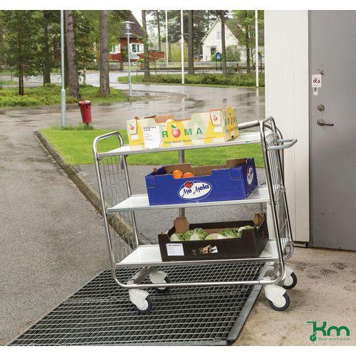 Konga flexible shelf trolleys with central locking