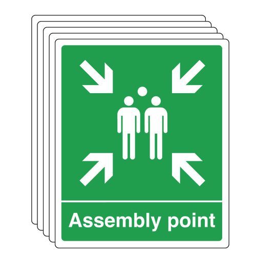 Assembly point sign - multi-pack of 5