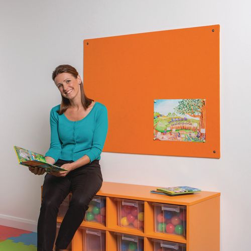 Bright coloured frameless noticeboards