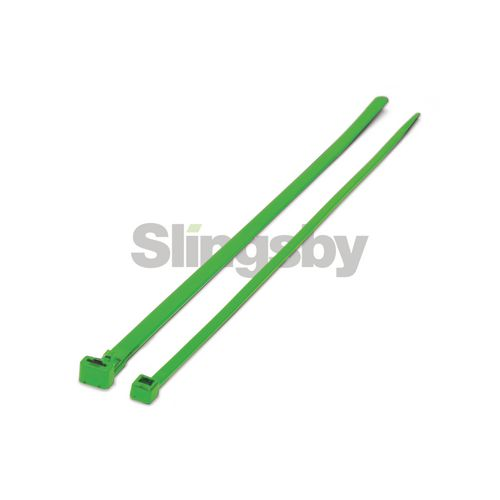 Mixed standard coloured plastic cable ties, green