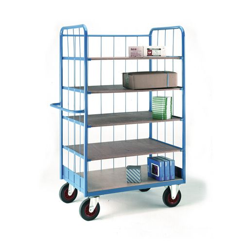 Closed shelf trolleys with rod infills