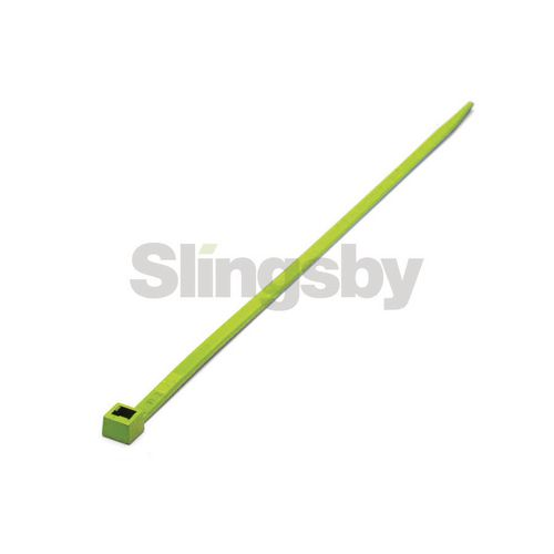 Fluorescent coloured plastic cable ties, green