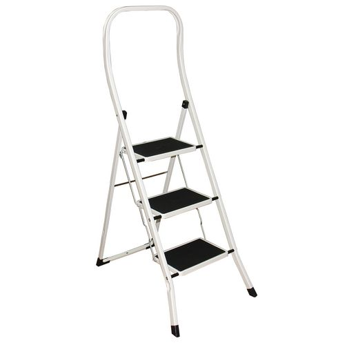 Folding step stools with extended handrail