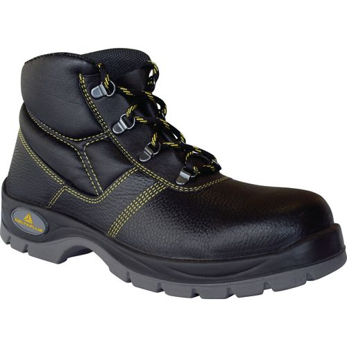 General purpose black leather safety boots
