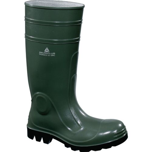 Green safety wellington boots
