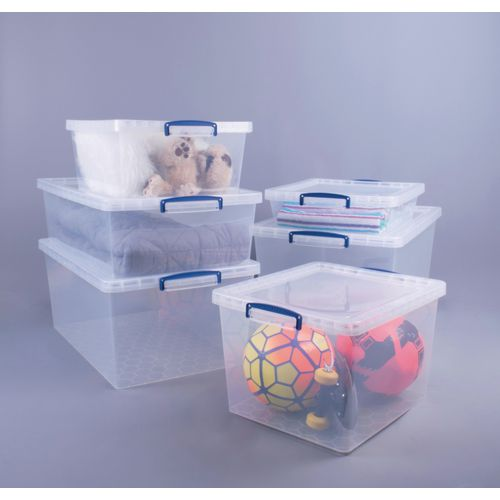 Nestable transparent Really Useful Box® containers