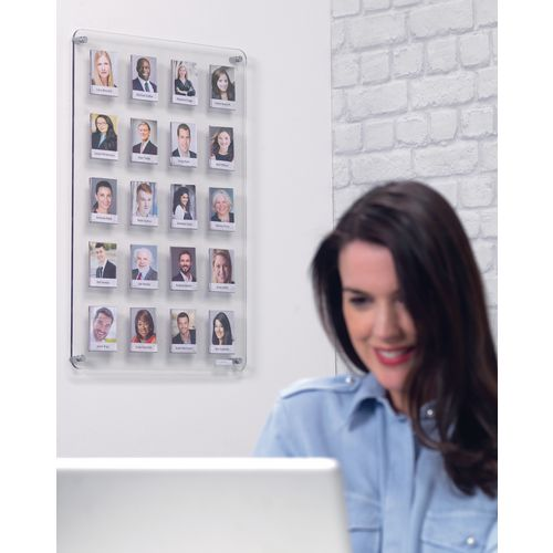 Wall mounted clear photoboards