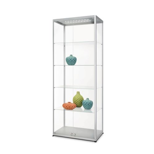 Illuminated glass trophy showcase cabinets