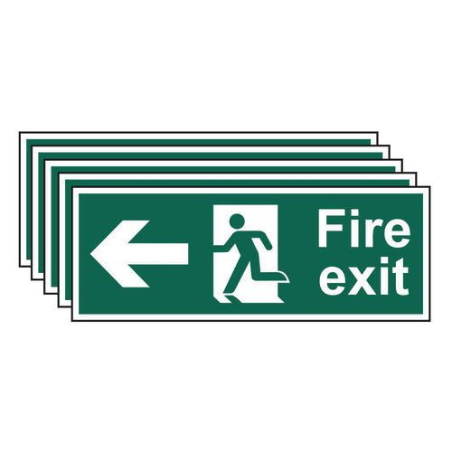 Fire exit arrow left sign - Pack of 5